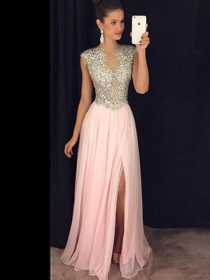 A-Line/Princess Bateau Sleeveless Floor-Length Chiffon Dresses with Sequin