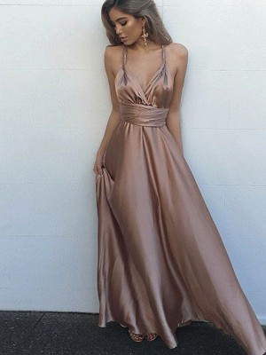 A-Line/Princess Spaghetti Straps Sleeveless Floor-Length Silk like Satin Dresses with Sash/Ribbon/Belt