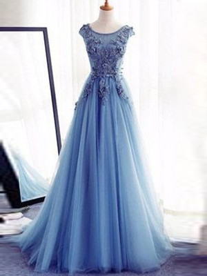 Ball Gown Jewel Sleeveless Sweep/Brush Train Tulle Dresses with Applique