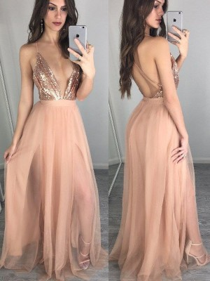 A-Line/Princess Spaghetti Straps Sleeveless Floor-Length Chiffon Dresses with Sequin