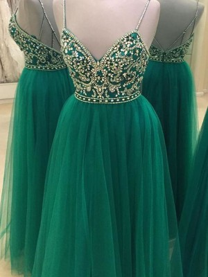 A-Line/Princess Spaghetti Straps Sleeveless Floor-Length Tulle Dresses with Beading