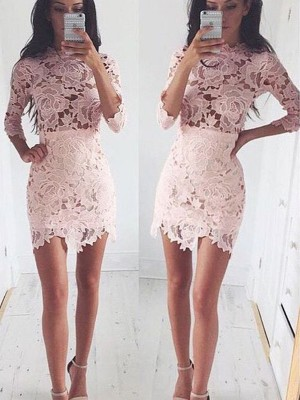 A-Line/Princess Scoop 1/2 Sleeves Short/Mini Lace Dresses