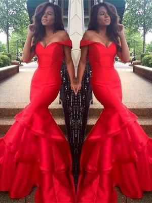 Trumpet/Mermaid Off-the-Shoulder Sleeveless Sweep/Brush Train Satin Dresses with Layers