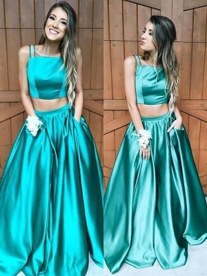 A-Line/Princess Square Sleeveless Floor-Length Satin Dresses with Ruffles