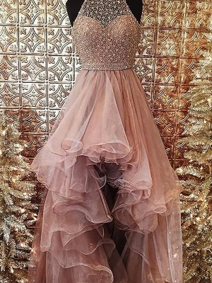Ball Gown Halter Sleeveless Asymmetrical Tulle Dresses with Beading