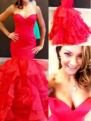 Trumpet/Mermaid Sweetheart Sleeveless Floor-Length Organza Dresses with Layers
