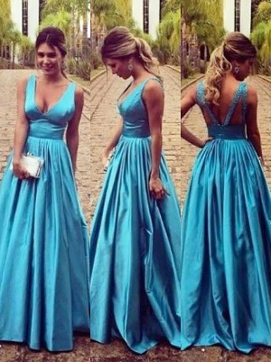 A-Line/Princess V-neck Sleeveless Floor-Length Elastic Woven Satin Ruched Dresses