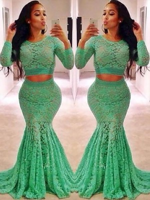 Trumpet/Mermaid Scoop Long Sleeves Sweep/Brush Train Lace Dresses with Ruffles
