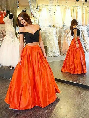 A-Line/Princess Off-the-Shoulder Sleeveless Floor-Length Taffeta Dresses with Ruffles