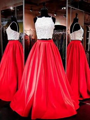A-Line/Princess Spaghetti Straps Sleeveless Floor-Length Satin Dresses with Lace