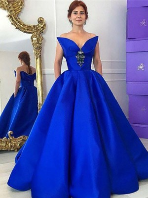 Ball Gown V-neck Sleeveless Floor-Length Satin Dresses with Ruffles