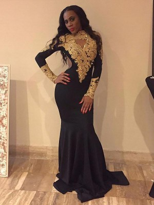 Trumpet/Mermaid Bateau Long Sleeves Sweep/Brush Train Stretch Crepe Dresses with Applique