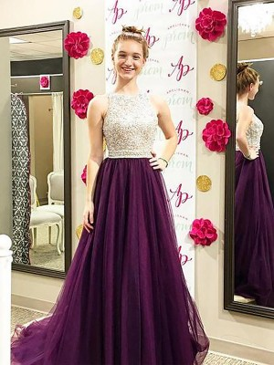 A-Line/Princess Bateau Sleeveless Sweep/Brush Train Tulle Dresses with Beading