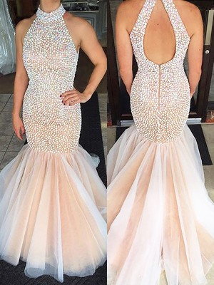 Trumpet/Mermaid Halter Sleeveless Sweep/Brush Train Tulle Dresses with Beading