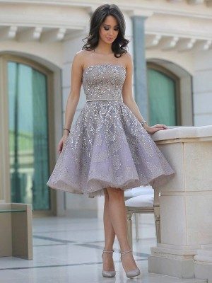 A-Line/Princess Strapless Sleeveless Knee-Length Satin Dresses with Sequin