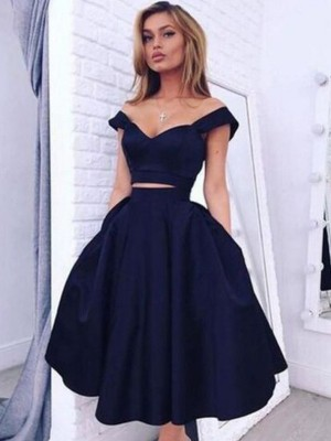 A-Line/Princess Off-the-Shoulder Sleeveless Knee-Length Satin Dresses