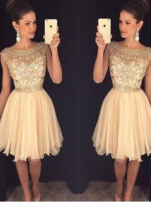 A-Line/Princess Scoop Sleeveless Short/Mini Chiffon Dresses with Beading