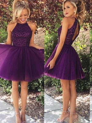 A-Line/Princess Halter Sleeveless Short/Mini Tulle Homecoming Dresses with Beading