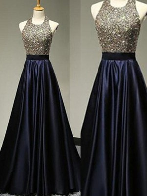 A-Line/Princess Halter Sleeveless Floor-Length Satin Dresses with Beading