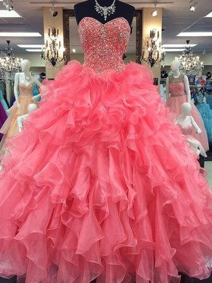 Ball Gown Sweetheart Sleeveless Floor-Length Organza Dresses with Beading