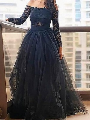 A-Line/Princess Off-the-Shoulder Long Sleeves Floor-Length Tulle Dresses with Lace