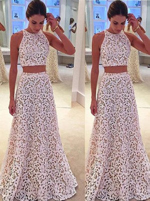 A-Line/Princess Scoop Sleeveless Floor-Length Lace Dresses with Lace