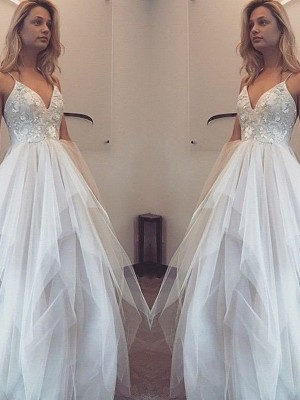 A-Line/Princess Spaghetti Straps Sleeveless Floor-Length Tulle Dresses with Applique