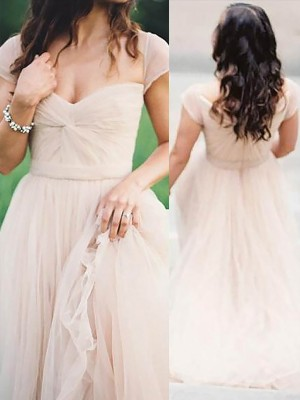 A-Line/Princess Sweetheart Sleeveless Floor-Length Chiffon Ruched Dresses