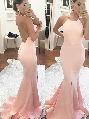 Trumpet/Mermaid Halter Sleeveless Sweep/Brush Train Satin Dresses