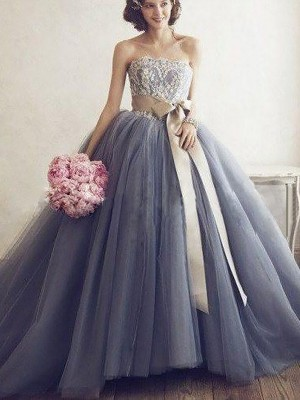 Ball Gown Sweetheart Sleeveless Sweep/Brush Train Tulle Dresses with Applique