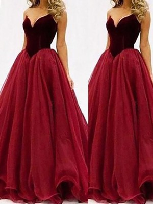 Ball Gown Sweetheart Sleeveless Floor-Length Tulle Dresses