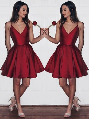Satin A-Line Short/Mini V-neck Burgundy Dresses