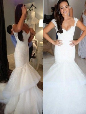 Trumpet/Mermaid Straps Sleeveless Chapel Train Organza Wedding Dresses