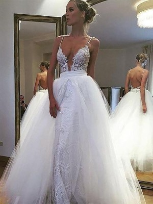 A-Line/Princess Spaghetti Straps Sleeveless Floor-Length Tulle Wedding Dresses with Lace