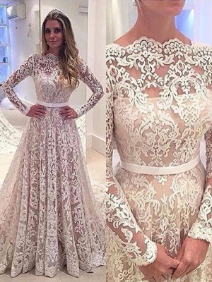 A-Line/Princess Bateau Long Sleeves Court Train Lace Wedding Dresses