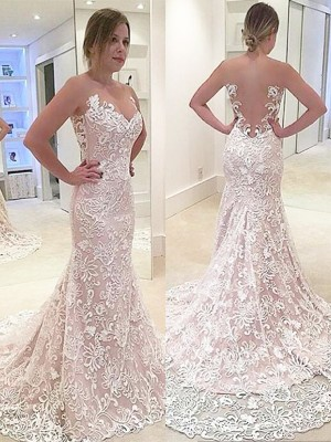 Trumpet/Mermaid Sweetheart Sleeveless Sweep/Brush Train Lace Wedding Dresses