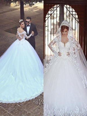 Ball Gown Off-the-Shoulder Long Sleeves Court Train Tulle Wedding Dresses