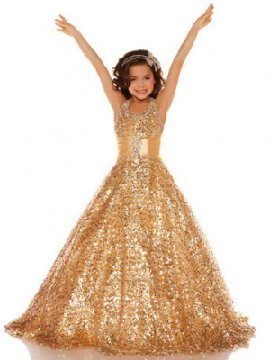 A-Line/Princess Halter Sleeveless Floor-Length Sequins Flower Girl Dresses with Sequin