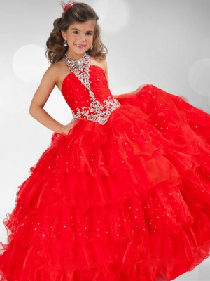 Ball Gown Halter Sleeveless Floor-Length Organza Flower Girl Dresses with Sequin Rhinestone