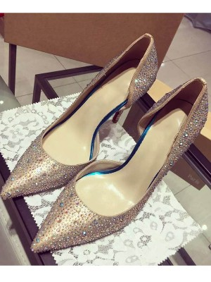 Satin Closed Toe Cone Heel With Rhinestone High Heels