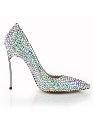 Stiletto Heel Closed Toe Patent Leather With Rhinestone High Heels