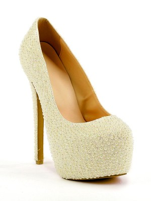Stiletto Heel Closed Toe Platform With Pearl High Heels