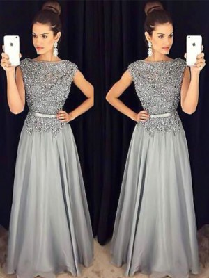 A-Line/Princess Bateau Sleeveless Floor-Length Applique Chiffon Dresses